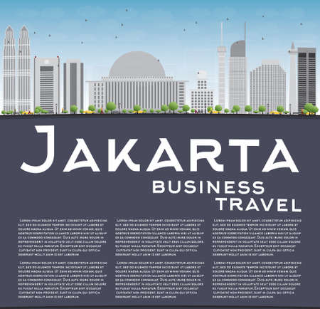 jakarta: Jakarta skyline with grey landmarks, blue sky and copy space. Vector illustration. Business travel and tourism concept with place for text. Image for presentation, banner, placard and web site.