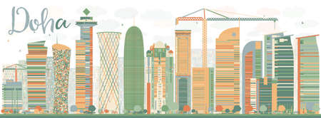 doha: Abstract Doha skyline with color skyscrapers. Vector illustration. Business and tourism concept with skyscrapers. Image for presentation, banner, placard or web site