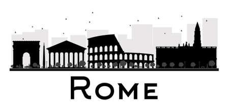Roma Skyline della città in bianco e nero silhouette. Illustrazione vettoriale. Concetto semplice piano per la presentazione turismo, banner, cartello o sito web. Concetto di viaggio di affari. Paesaggio urbano con punti di riferimento