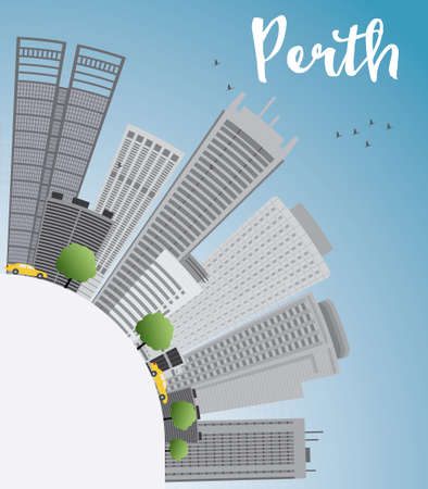 australia landscape: Perth skyline with grey buildings, blue sky and copy space. Vector illustration. Business travel and tourism concept with place for text. Image for presentation, banner, placard and web site.
