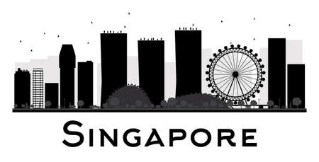 singapore: Singapore City skyline black and white silhouette. Vector illustration. Simple flat concept for tourism presentation, banner, placard or web site. Business travel concept. Cityscape with landmarks