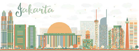 jakarta: Abstract Jakarta skyline with color landmarks. Vector illustration. Business travel and tourism concept with historic buildings. Image for presentation, banner, placard and web site. Illustration