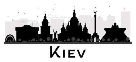 키예프 도시의 스카이 라인 흑백 실루엣입니다. 벡터 일러스트 레이 션. 관광 프리젠 테이션, 배너, 현수막 또는 웹 사이트에 대 한 간단한 평면 개념.  일러스트