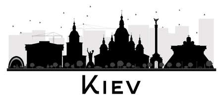Kiev City skyline black and white silhouette. Vector illustration. Simple flat concept for tourism presentation, banner, placard or web site. Business travel concept. Cityscape with landmarks