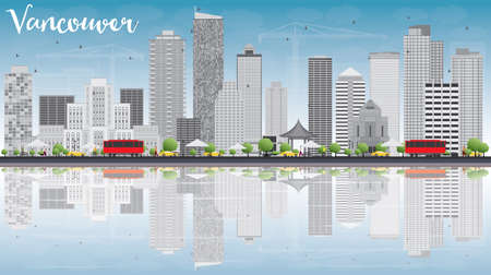 vancouver city: Vancouver skyline with grey buildings, blue sky and reflections. Vector illustration. Business travel and tourism concept with place for text. Image for presentation, banner, placard and web site.