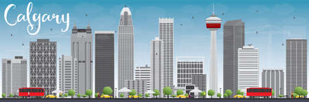 calgary: Calgary Skyline with Gray Buildings and Blue Sky. Vector Illustration. Business travel and tourism concept with modern buildings. Image for presentation, banner, placard and web site.