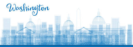 dc: Outline Washington DC City Skyscrapers in blue color. Vector illustration. Business and tourism concept with skyscrapers. Image for presentation, banner, placard or web site Illustration