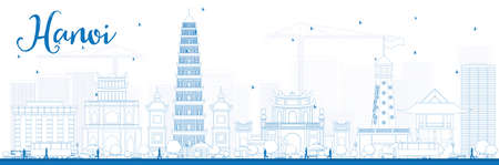 Outline Hanoi skyline met blauwe Landmarks. Vector illustratie. Zakelijke en toeristische concept met gebouwen. Afbeelding voor de presentatie, banner, aanplakbiljet of website