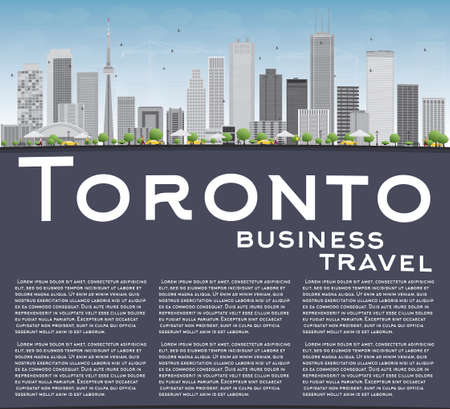 toronto: Toronto skyline with grey buildings, blue sky and copy space. Vector illustration. Business travel and tourism concept with place for text. Image for presentation, banner, placard and web site. Illustration