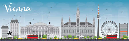 Vienna Skyline with Gray Buildings and Blue Sky. Vector Illustration. Business Travel and Tourism Concept with Historic Buildings. Image for Presentation, Banner, Placard and Web Site.