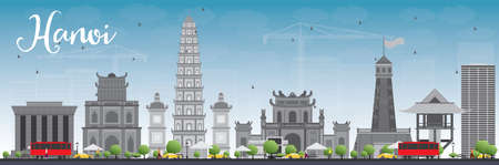 Hanoi skyline with grey Landmarks and blue sky. Vector illustration. Business and tourism concept with buildings. Image for presentation, banner, placard or web site