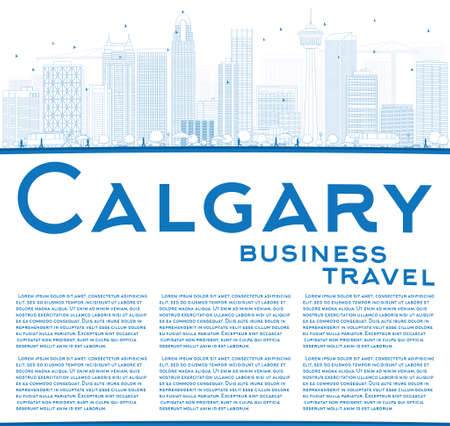 alberta: Outline Calgary Skyline with Blue Buildings and Copy Space. Vector Illustration. Business travel and tourism concept with place for text. Image for presentation, banner, placard and web site.