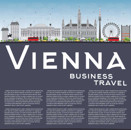 copy space: Vienna Skyline with Gray Buildings, Blue Sky and Copy Space. Vector Illustration. Business Travel and Tourism Concept with Historic Buildings. Image for Presentation, Banner, Placard and Web Site. Illustration