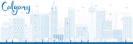 alberta: Outline Calgary Skyline with Blue Buildings. Vector Illustration. Business travel and tourism concept with modern buildings. Image for presentation, banner, placard and web site.