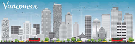vancouver city: Vancouver skyline with grey buildings and blue sky. Vector illustration. Business travel and tourism concept with modern buildings. Image for presentation, banner, placard and web site.