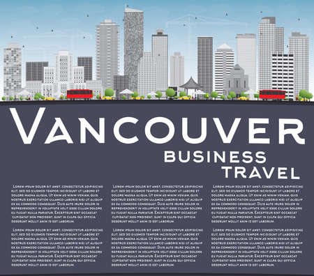 vancouver city: Vancouver skyline with grey buildings, blue sky and copy space. Vector illustration. Business travel and tourism concept with place for text. Image for presentation, banner, placard and web site.