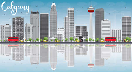 calgary: Calgary Skyline with Gray Buildings, Blue Sky and Reflections. Vector Illustration. Business travel and tourism concept with copy space. Image for presentation, banner, placard and web site.