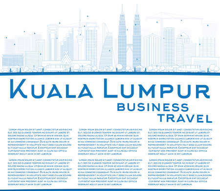 business asia: Outline Kuala Lumpur Skyline with Blue Buildings Copy Space. Vector illustration. Business travel and tourism concept with place for text. Image for presentation, banner, placard and web site.