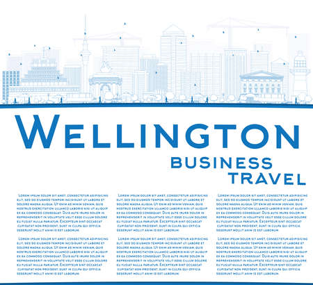 new zealand landscape: Outline Wellington skyline with blue buildings and copy space. Vector illustration. Business travel and tourism concept with place for text. Image for presentation, banner, placard and web site. Illustration