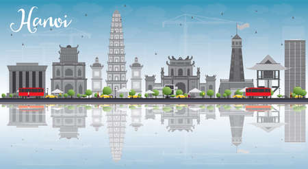Hanoi skyline with grey Landmarks, blue sky and reflections. Vector illustration. Business and tourism concept with copy space. Image for presentation, banner, placard or web site