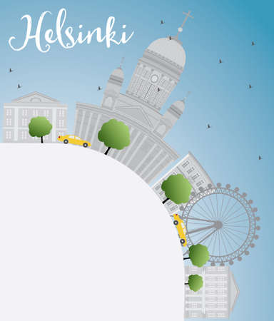 Helsinki skyline with grey buildings and copy space. Business travel and tourism concept with place for text. Image for presentation, banner, placard and web site. Vector Illustration