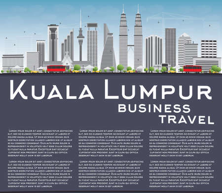 kuala: Kuala Lumpur Skyline with Gray Buildings, Blue Sky and Copy Space. Vector illustration. Business travel and tourism concept with place for text. Image for presentation, banner, placard and web site.
