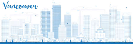 vancouver city: Outline Vancouver skyline with blue buildings. Vector illustration. Business travel and tourism concept with modern buildings. Image for presentation, banner, placard and web site.