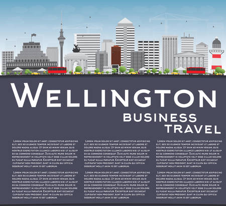 new zealand landscape: Wellington skyline with grey buildings, blue sky and copy space. Vector illustration. Business travel and tourism concept with place for text. Image for presentation, banner, placard and web site.