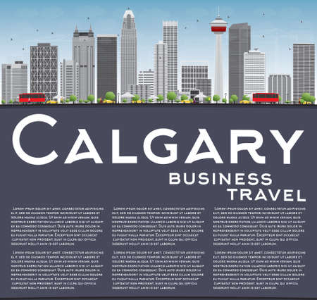 calgary: Calgary Skyline with Gray Buildings, Blue Sky and Copy Space. Vector Illustration. Business travel and tourism concept with place for text. Image for presentation, banner, placard and web site.