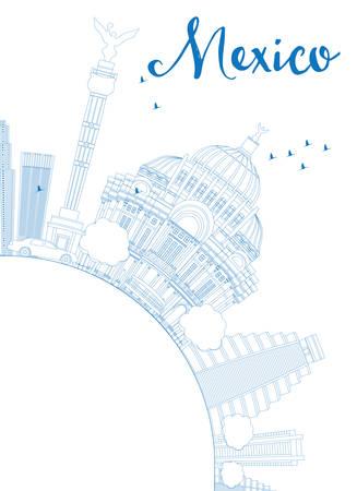 angel de la independencia: Esquema horizonte de M�xico con las se�ales azules y espacio de la copia. Ilustraci�n del vector. Los viajes de negocios y el concepto de turismo de edificios hist�ricos. Imagen de la presentaci�n, bandera, cartel y el sitio web. Vectores