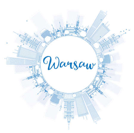warsaw: Outline Warsaw skyline with blue buildings and copy space. Vector illustration. Business travel and tourism concept with modern buildings. Image for presentation, banner, placard and web site.