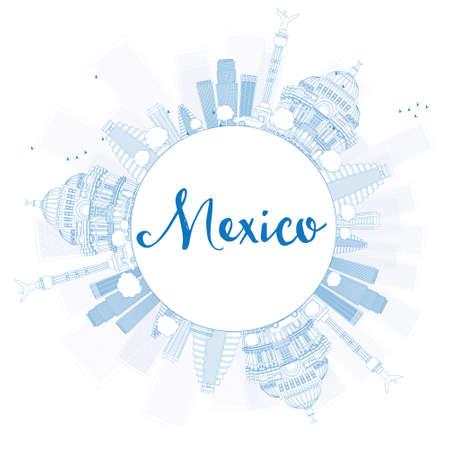 angel de la independencia: Esquema horizonte de México con las señales azules y espacio de la copia. Ilustración del vector. Los viajes de negocios y el concepto de turismo de edificios históricos. Imagen de la presentación, bandera, cartel y el sitio web. Vectores
