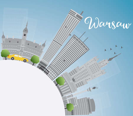 warsaw: Warsaw skyline with grey buildings, blue sky and copy space. Vector illustration. Business travel and tourism concept with modern buildings. Image for presentation, banner, placard and web site. Illustration