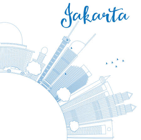 jakarta: Outline Jakarta skyline with blue landmarks and copy space. Vector illustration. Business travel and tourism concept with place for text. Image for presentation, banner, placard and web site.