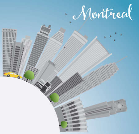 quebec city: Montreal skyline with grey buildings, blue sky and copy space. Vector illustration. Business travel and tourism concept with place for text. Image for presentation, banner, placard and web site.