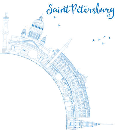 st petersburg: Outline Saint Petersburg skyline with blue landmarks and copy space. Business travel and tourism concept with historic buildings. Image for presentation, banner, placard and web. Vector illustration