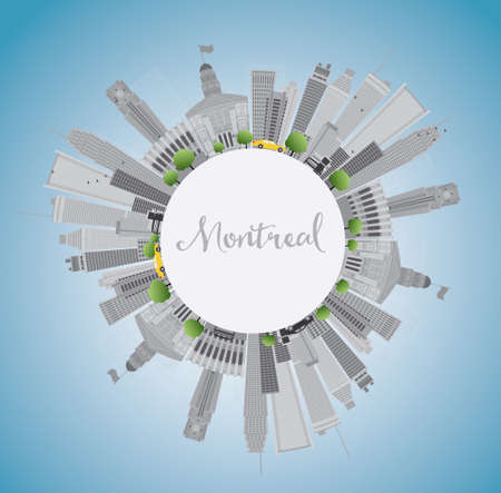 montreal: Montreal skyline with grey buildings, blue sky and copy space. Vector illustration. Business travel and tourism concept with place for text. Image for presentation, banner, placard and web site.
