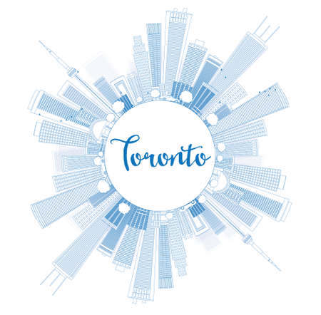 toronto: Outline Toronto skyline with blue buildings and copy space. Vector illustration. Business travel and tourism concept with place for text. Image for presentation, banner, placard and web site. Illustration