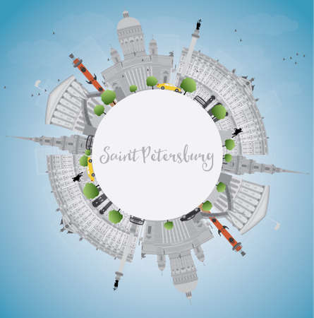 corporate building: Saint Petersburg skyline with gray landmarks and copy space. Business travel and tourism concept with historic buildings. Image for presentation, banner, placard and web site. Vector illustration