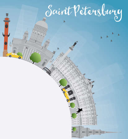 saint petersburg: Saint Petersburg skyline with gray landmarks and copy space. Business travel and tourism concept with historic buildings. Image for presentation, banner, placard and web site. Vector illustration