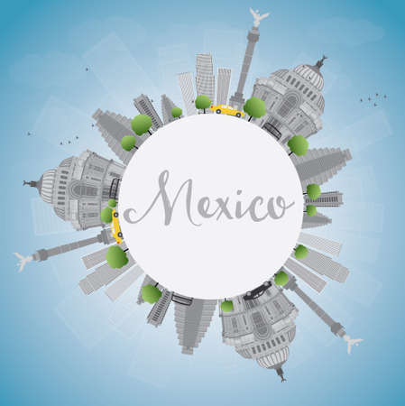 angel de la independencia: horizonte de M�xico con puntos de referencia de grises y cielo azul. Ilustraci�n del vector. Los viajes de negocios y el concepto de turismo, con edificios hist�ricos y espacio de la copia. Imagen de la presentaci�n, la bandera, el cartel y la p�gina web. Vectores
