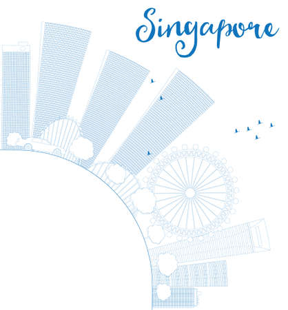 singapore skyline: Outline Singapore skyline with blue landmarks and copy space. Vector illustration. Business travel and tourism concept with place for text. Image for presentation, banner, placard and web site. Illustration