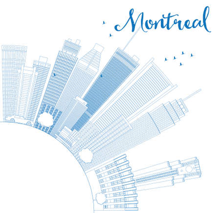 quebec city: Outline Montreal skyline with blue buildings and copy space. Vector illustration. Business travel and tourism concept with place for text. Image for presentation, banner, placard and web site.
