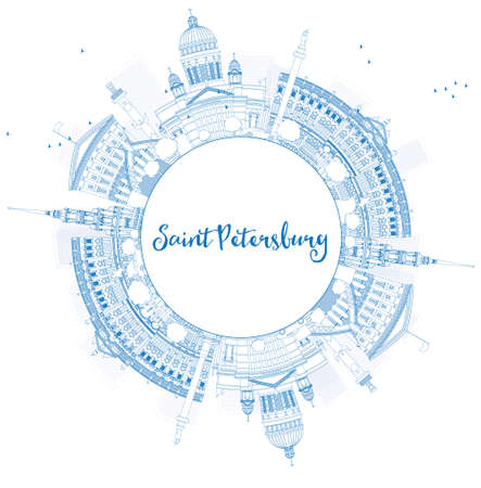 Outline Saint Petersburg skyline with blue landmarks and copy space. Business travel and tourism concept with historic buildings. Image for presentation, banner, placard and web. Vector illustration