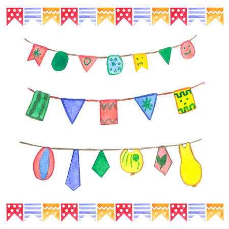 siesta: Watercolor flags garlands set. Birthday decor. Garlands made in different colors: green, yellow, orange, red, blue.