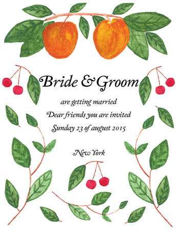 watercolour background: Invitation card with watercolor elements. Wedding card with cherry, leaves and peaches. Stock Photo