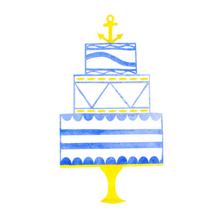 wedding cake isolated: Watercolor hand drawn wedding cake with anchor isolated on white background. Cake in blue and yellow colors. Stock Photo