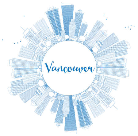 vancouver city: Outline Vancouver skyline with blue buildings and copy space. Vector illustration. Business travel and tourism concept with place for text. Image for presentation, banner, placard and web site.