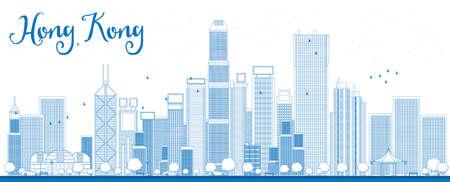 Outline Hong Kong skyline met blauwe wolkenkrabbers en taxi. Vector illustratie. Zakelijke reizen en toerisme concept met plaats voor tekst. Afbeelding voor de presentatie, banner, aanplakbiljet en website.