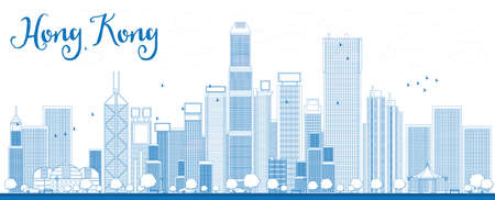 buildings vector: Outline Hong Kong skyline with blue skyscrapers and taxi. Vector illustration. Business travel and tourism concept with place for text. Image for presentation, banner, placard and web site.